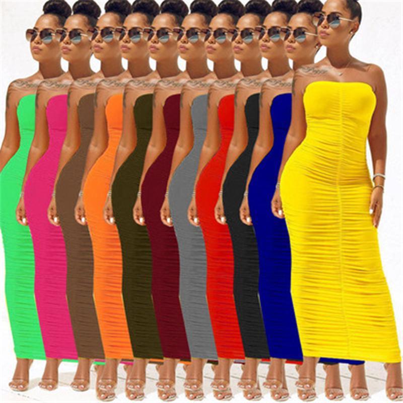 Sexy trägerlose Bodycon Womens Kleider unregelmäßige geraffte lange Kleid Sommer Mode Casual Club Party Frauen Kleidung