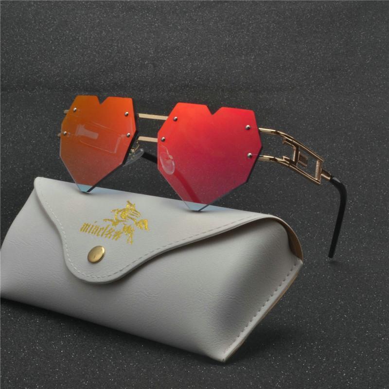 2020 Moda Tasarımı Aşk Kalp Güneş Marka Kadınlar Çerçevesiz Güneş Pembe Kırmızı Elegant Shades Lady Vintage Gözlük FML gözlük