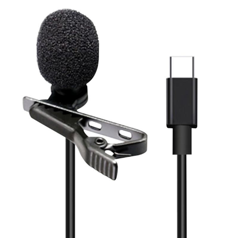 3.5mm Typ C für Computer verdrahtet tragbarer Clip auf omnidirektionalen Revers Lavalier-Mikrofon-Audio-Laptop-Smartphone-Interviews