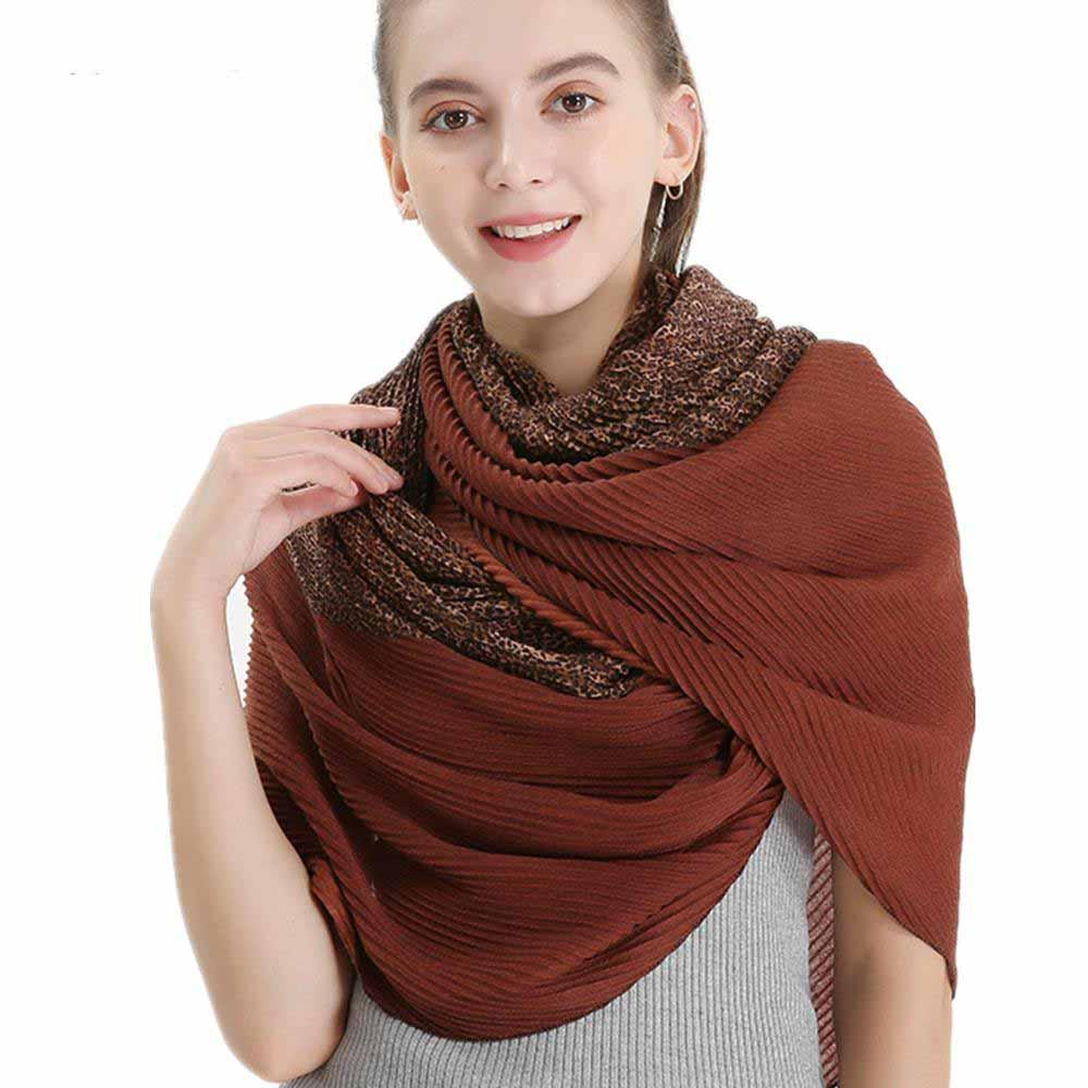 New Twill Creased Women's Scarf Cotton and Linen Gradient Collar Shawl for Women's Shawl Leopard Spotted Warm Scarf