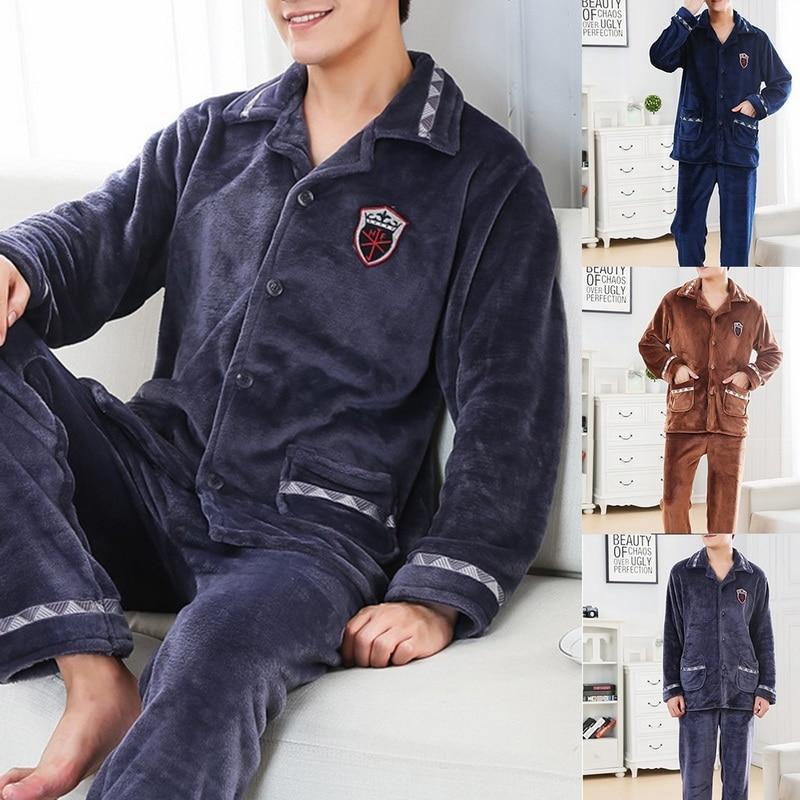 Зима Пижамы Мужчины Толстые Теплый пижамы фланелевые Главная одежда с длинным рукавом ватки коралла Printed пижама Set Man Two Piece Set