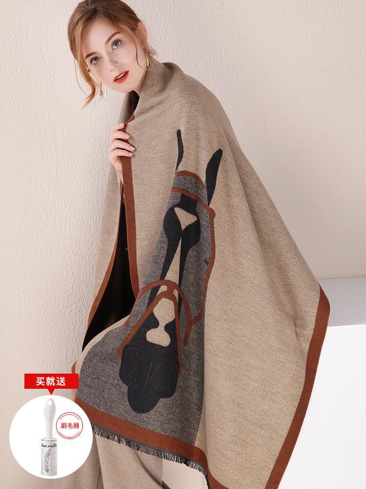 War horse scarf women's winter versatile large thickened long office autumn Korean shawl dual purpose warm Cloak