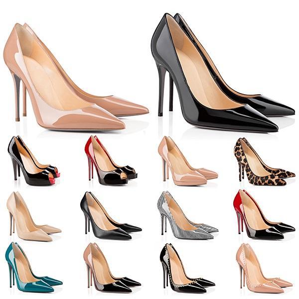 2021 Yüksek Topuklu Kırmızı Dipler Bayan Topuk 8 10 12 cm Hakiki Deri Noktası Burun Pompaları Kauçuk Düğün Ziyafet Elbise Ayakkabı Boyutu 35-42