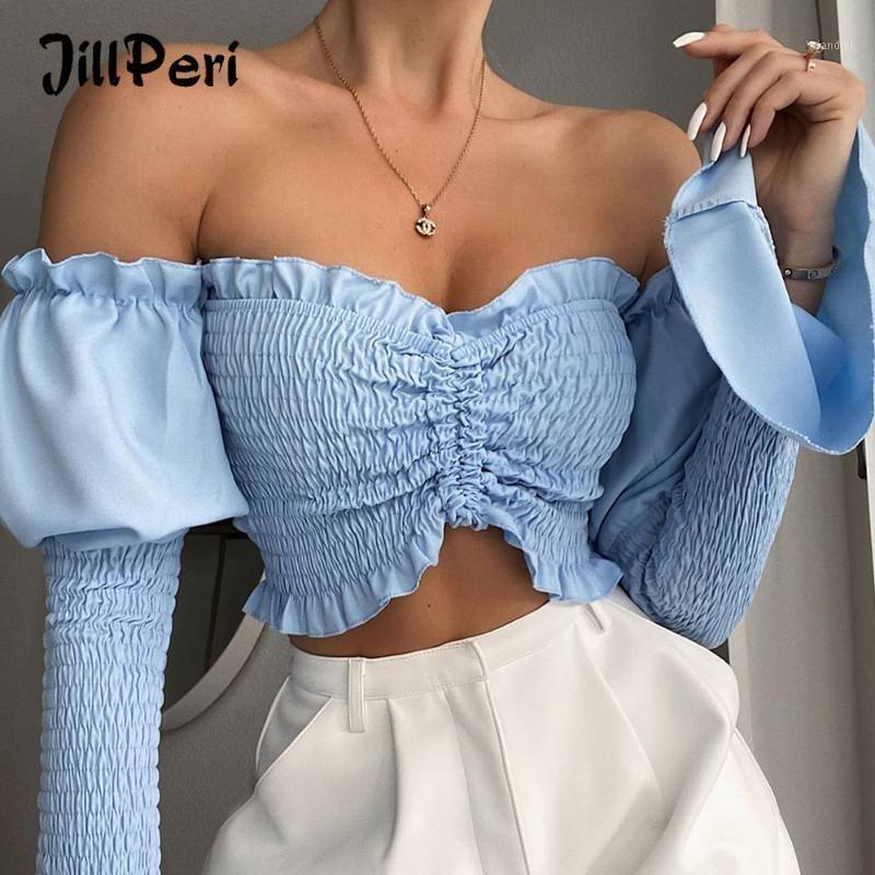 Jillperi Mode Solide Ruchée de l'épaule Blouse à manches longues Strappy Flare Summer Street Wearfit Femmes Chemise Crop Top1