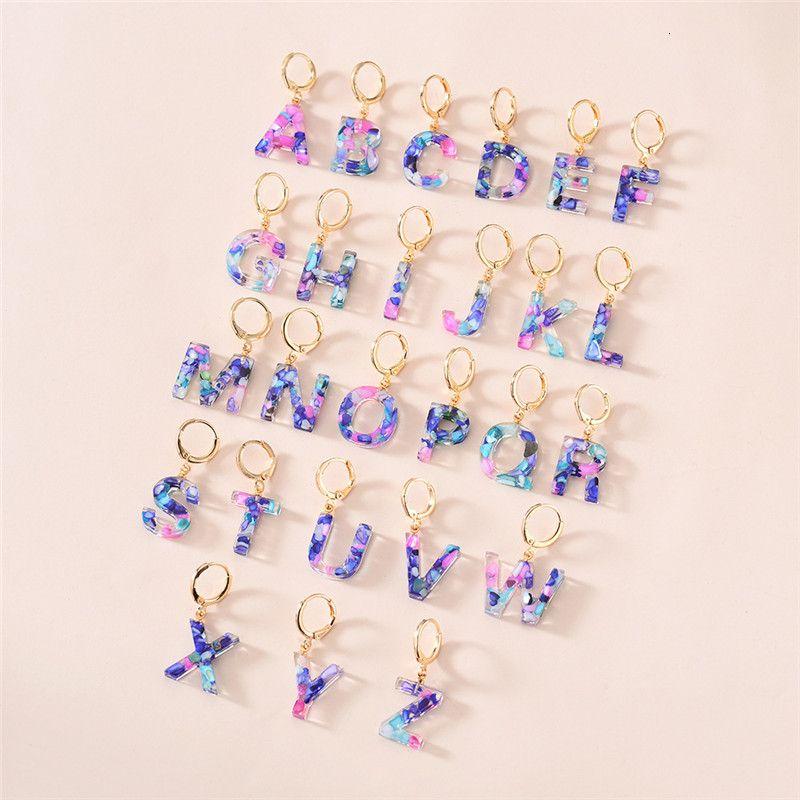 Moda 26 Baş harfleri Mektup Kolye Mizaç Küpe Akrilik A'dan Z'ye Anahtarlık Dangle Küpe Basit Sevimli Parti Hediye