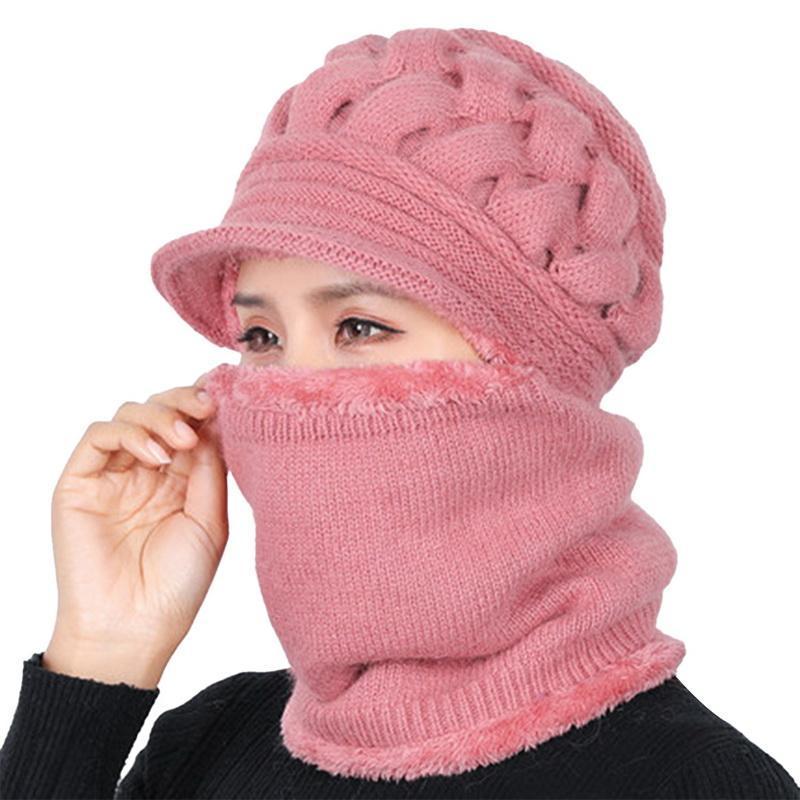 2020 Femme cou automne hiver chaud Chapeaux Bonnets Masque femmes d'hiver Chapeau Chapeaux Tricotés écharpe Set Bonnet Caps ski femme