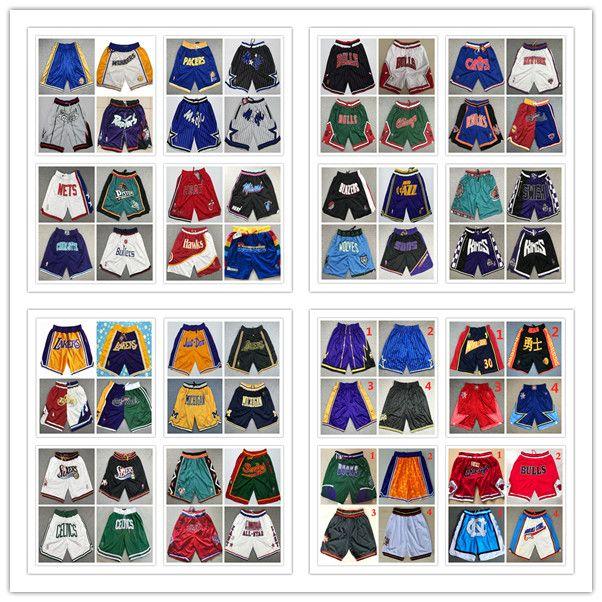 NCAA Top Quality! Retro Mens Just Don Pocket Shorts Pantaloni da polpette traspiranti Cucitate tutti i pantaloncini da pallacanestro da pallacanestro Pantaloncini da basket a buon mercato S-XXL