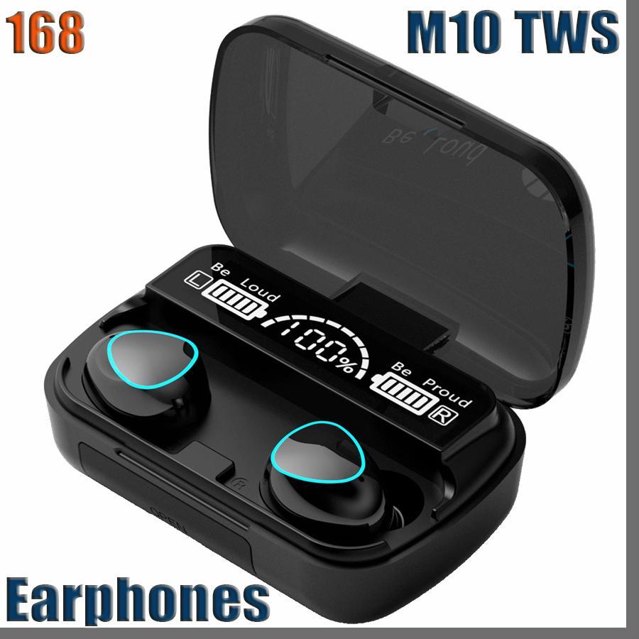 168D M10 TWS 블루투스 이어폰 무선 헤드폰 스테레오 스포츠 무선 이어폰 터치 미니 이어 버드가 방수 마이크 2000mAh