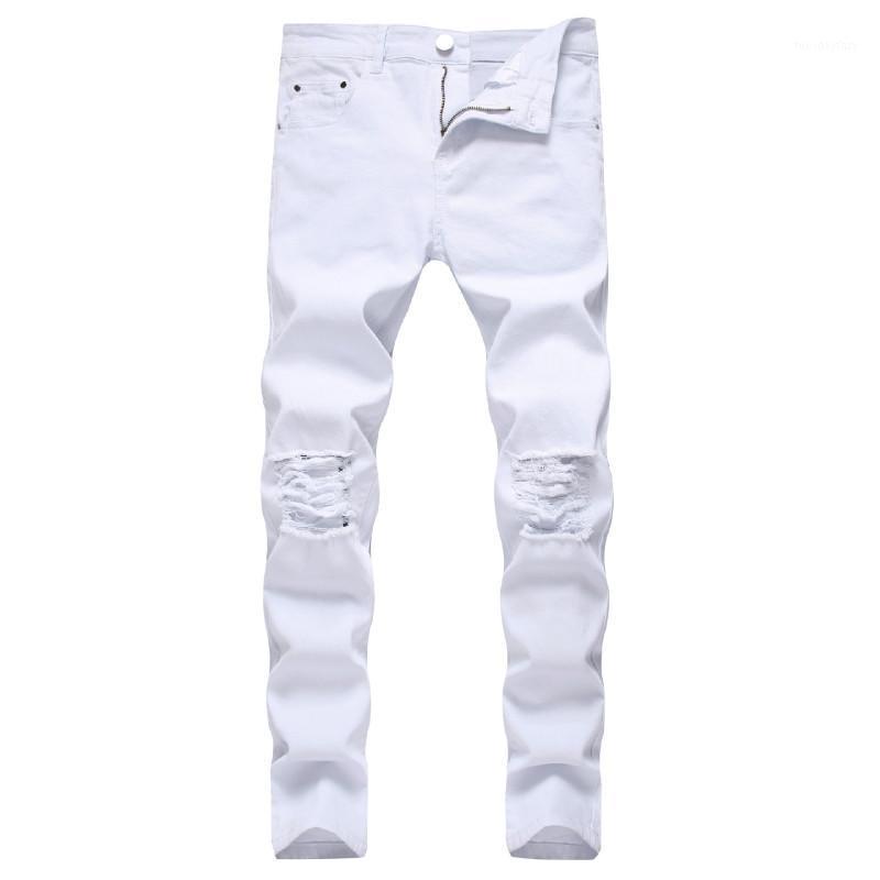 Jeans Rompe blanco sólido hombres 2020 clásicos retro para hombre pantalones vaqueros de la marca de algodón elástico pantalones pantalones casuales delgado lápiz lápiz Pant1