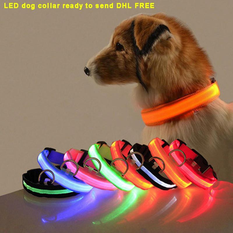 Nylon LED Cuello de perro Noche Luz de seguridad Luz intermitente Resplandor en el perro pequeño oscuro PET PET ADRESH COLLAROS DE POR PUPPY COLLARES DE SEGURIDAD DESPLAZADOR