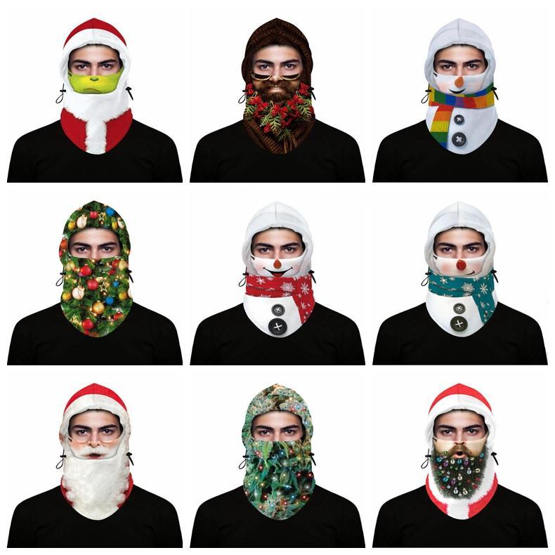 Xmas decorazione testa copertura di natale maschere di natale ski caldo cappuccio regolabile copricapo digitale stampa bambino adulto inverno all'aperto ciclismo maschera xxtl17