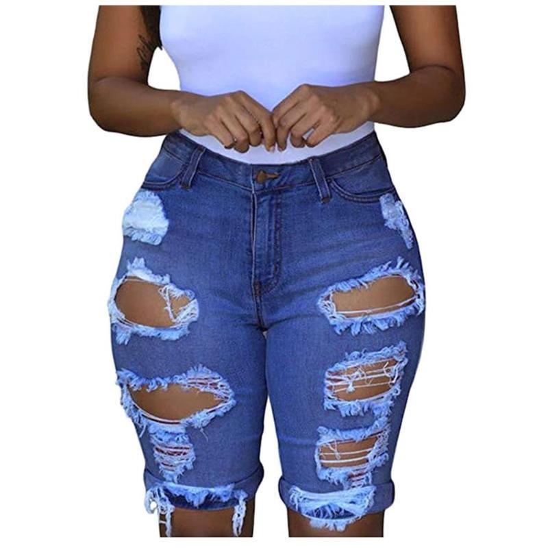 Разорванные джинсы Женщина Низкий WSIST Mujer Эластичные уничтоженные дыры Леггинсы Короткие штаны Джинсовые шорты тощие джинсы для женщин 2020 Feminina