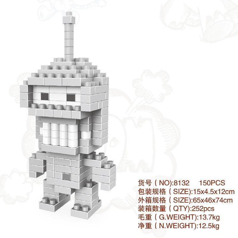 small particle building blocks Cartoon assembled building block model Decorations Educational toys Christmas toys Children's gifts