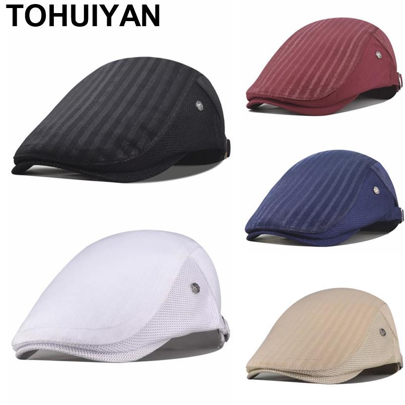 [Тохуиян] Мода твердых GATSBY CAP мужчин женщин повседневная плющная шапка летом дышащая сетка плоская кабриология Cap Unisex Boinas NewsBoy Caps 201216