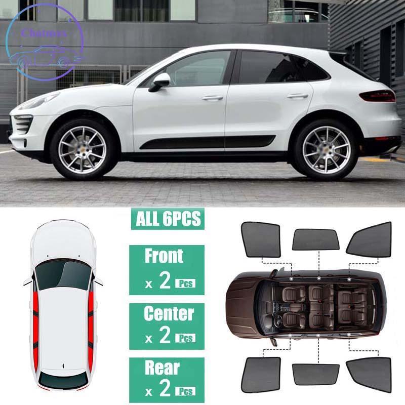 Porsche Macan için Siyah Net İplik 2014-2019 Yan Windows Manyetik Güneş Gölge UV Koruma Ray Engelleme Mesh Visor