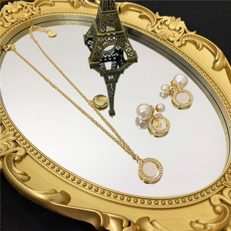 Vintage Letter Shell Collana Collana Pendenti Antigianale perla Star Star Orecchini Designer Pendenti Pendenti Orecchini Donne Gioielli Set