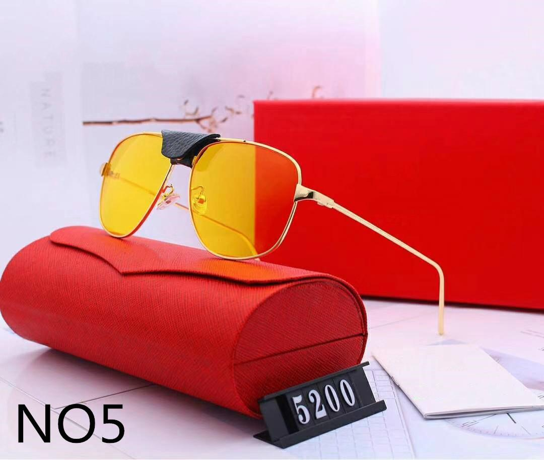 Erkek Kadın Tasarımcı Güneş Gözlüğü Lüks Güneş Gözlüğü Tasarımcı Cam Adumbral Gözlük UV400 Model 5200 6 Renkler Isteğe Bağlı Yüksek Kalite Kutusu Ile