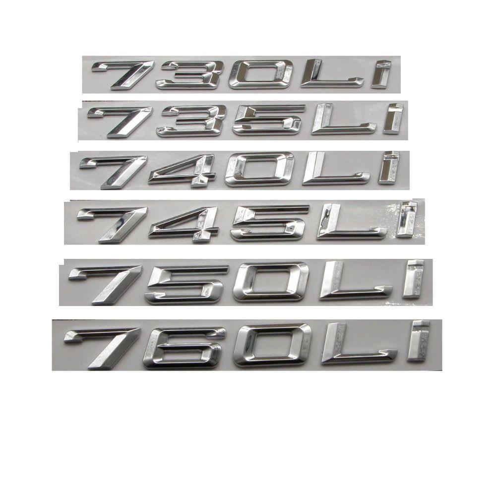 Krom Gümüş Numarası Mektuplar Araba Trunk Rozeti Amblem Amblemler BMW 7 Serisi 745i 740i 750i 730LI 735LI 740LI 750LI 745LI 760LI