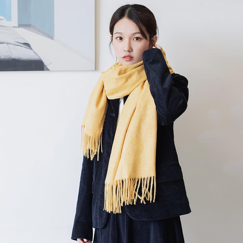 2020 твердые женщины кашемировой шарф зимний новый универсальный теплый кисточка шал шарфы женщины