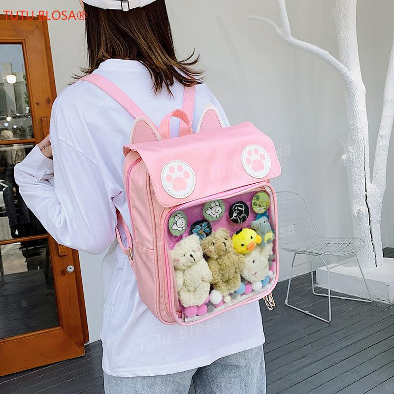 2020 Women Cute ITA Bag Wih Cat Bagging Backpacks Paws School for teenager girls transparent backpack Clear Itabag H204 Q1113