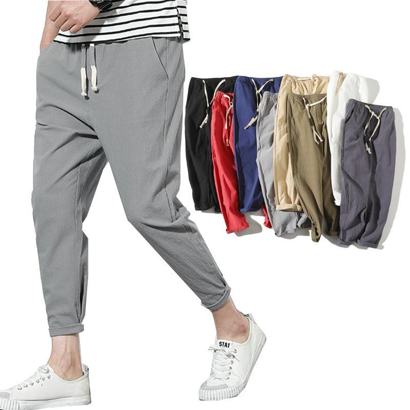 Lightweight Men's Summer Casual Pants Cotton Harem Trousers Elastic Waist Ankle-Length Man's Pants
