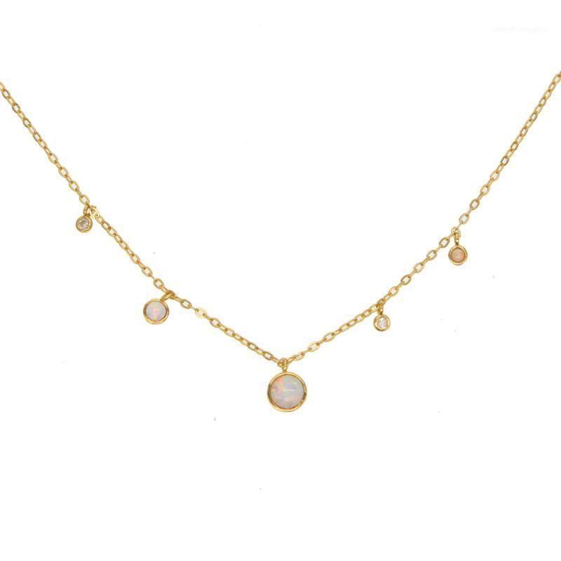 Guarantee 100% 925 sterling silver vermeil minimal round dots cz opal choker simple charm chocker necklace1