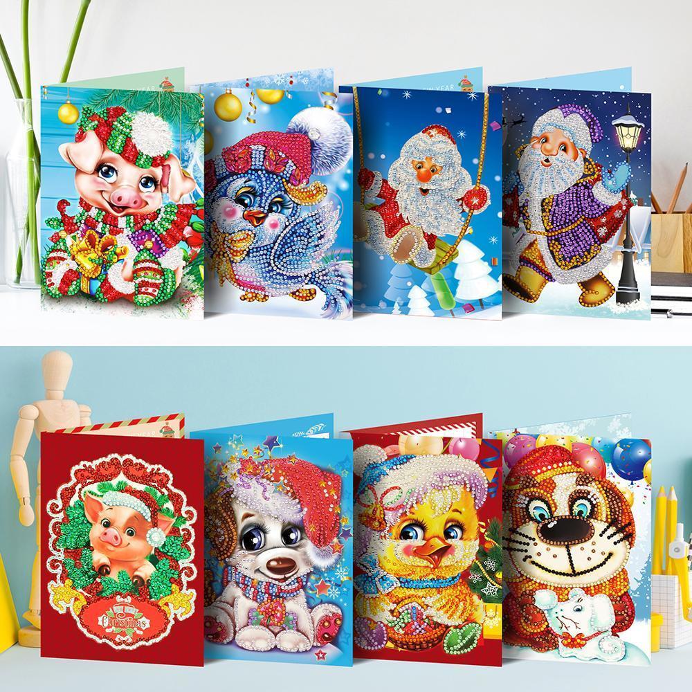 5d DIY pintura cartão de Natal animais fofos, melhor es diamond bordado papel diy cartão postal artesanato de desenhos animados crianças c1123 C1123