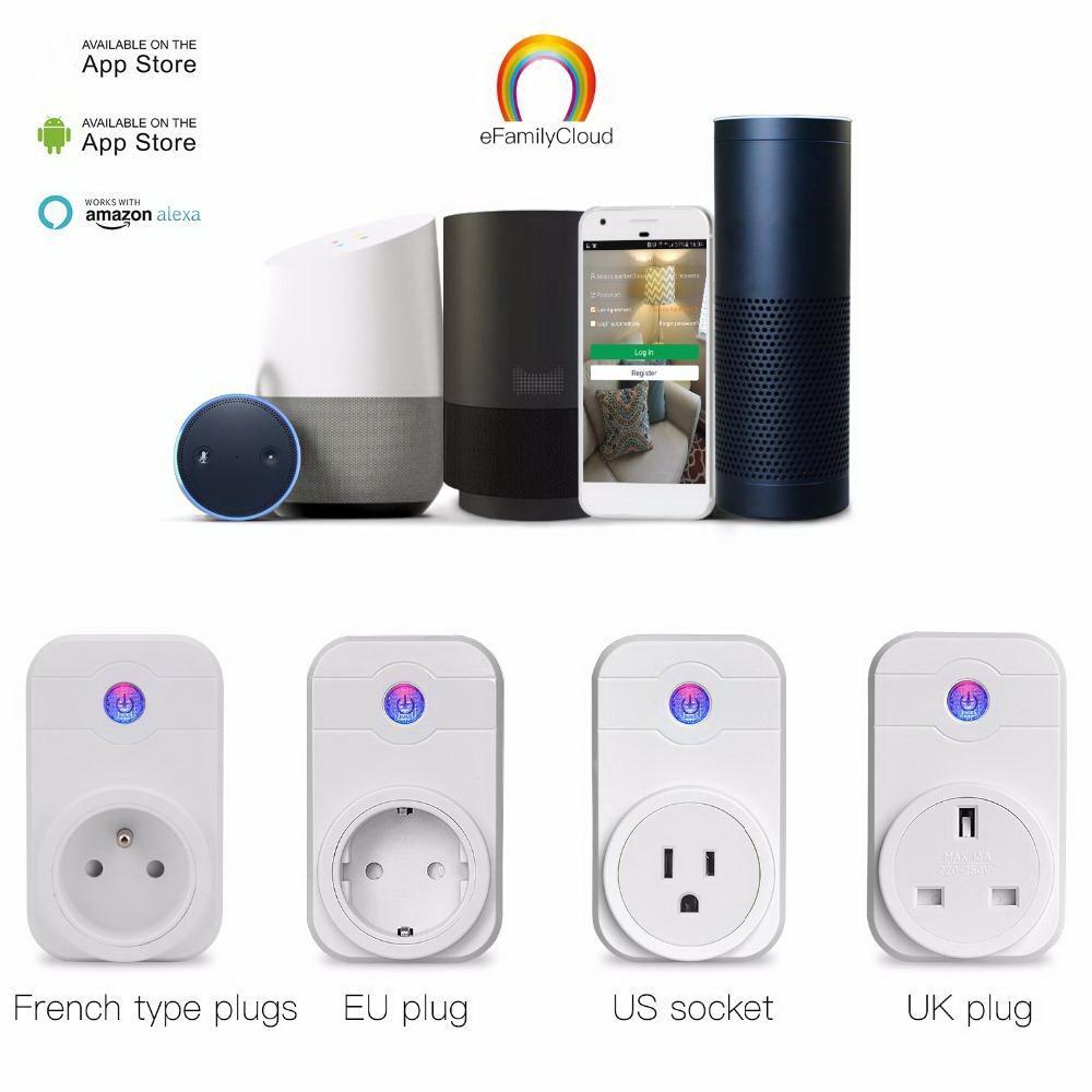 Wifi Akıllı Fiş Ev Otomasyonu Telefon App Zamanlama Anahtarı Uzaktan Kumanda 100-240 V WiFi Soket Amazon Alexa ve Google ile Çalışmak