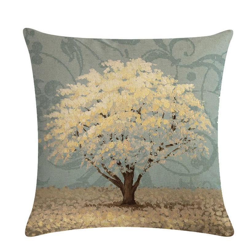 1Pcs Flower Tree Pattern 45*45CM Decorative Cushions Pillowcase Linen Cushion Cover Throw Sofa Decoration Pillowcover