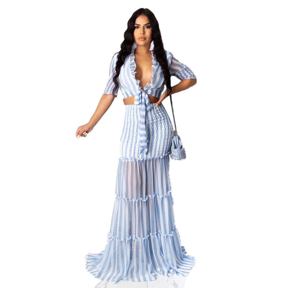 Adogirl beiläufige bloße Ineinander greifen Patchwork Zweiteiler Kleid Herbst Striped Pilz Lace Up Crop Chiffon Top Maxi Rock-Strand-Anzug