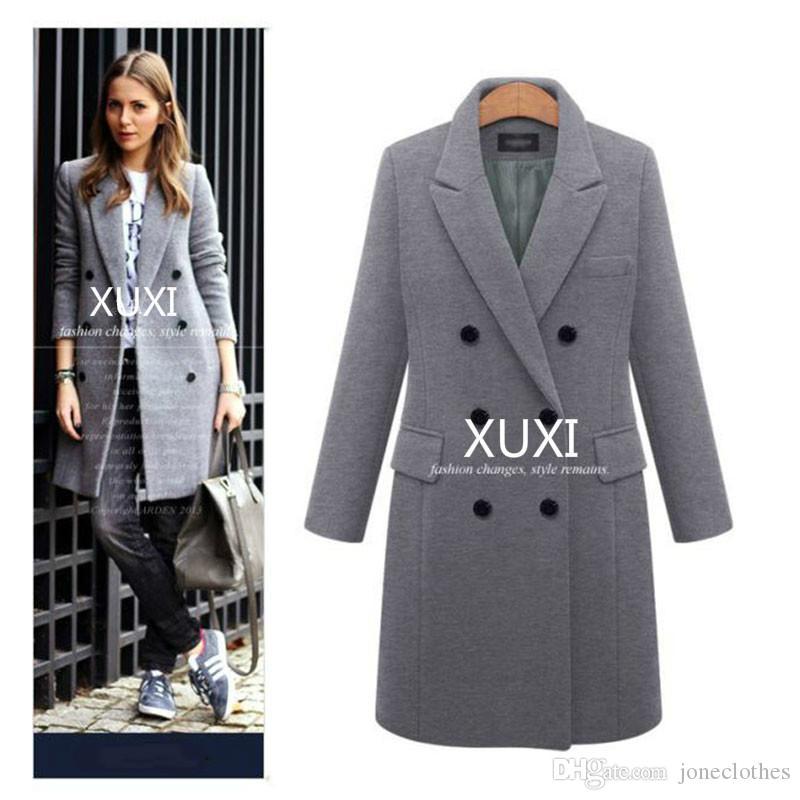 Xuxi mulheres outono casaco de inverno casual jaquetas maciço blazers feminino elegante Dupla breasted casaco longo senhoras tamanho 5xl fz244