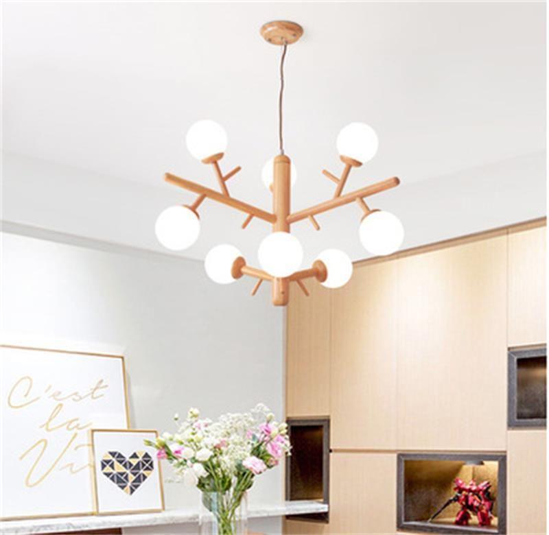 Modernes Log LED Kronleuchter Lichter Massivholz Wohnzimmer Holz Pendelleuchte Japanische Holzstil Lampen Esszimmer Schlafzimmer Beleuchtung