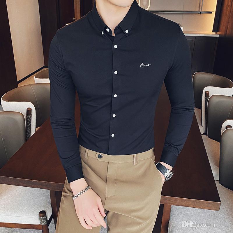2020 Frühlingsshirt Männer Langarm Business-Kleid Hemden Hohe Qualität Solide Farbe Büro Streetwear Soziale Bluse Chemise Homme