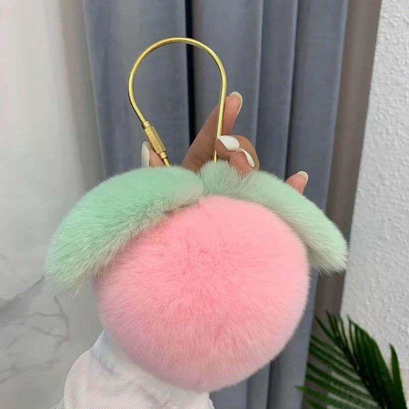 Honey Rex Кролик Меховая трава Сердце Подвесной Пинк Персик Автомобиль Ключ Цепной Подарок