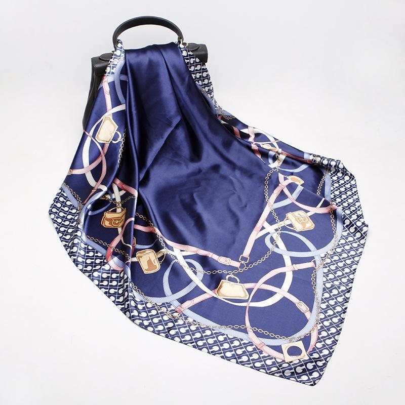 2021 90x90 брелок печати многофункциональный женский шелковый шелковый шелковый шарф атласный квадратный галстук для волос дамы FOLEME FEMME полотенце Bufanda шаль