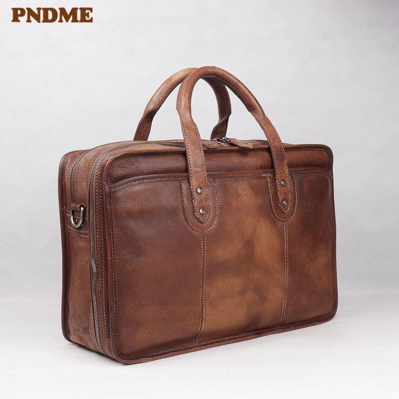 PNDME vintage high quality large capacity genuine leather men's briefcase business travel luxury cowhide laptop shoulder bags Q0112