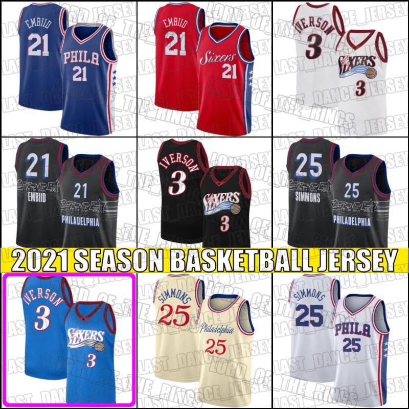 Ben 25 Simmons Jersey Joel 21 Embiid Jerseys Allen 3 Iverson Jersey Throwback Basketball Jerseys F32HJD