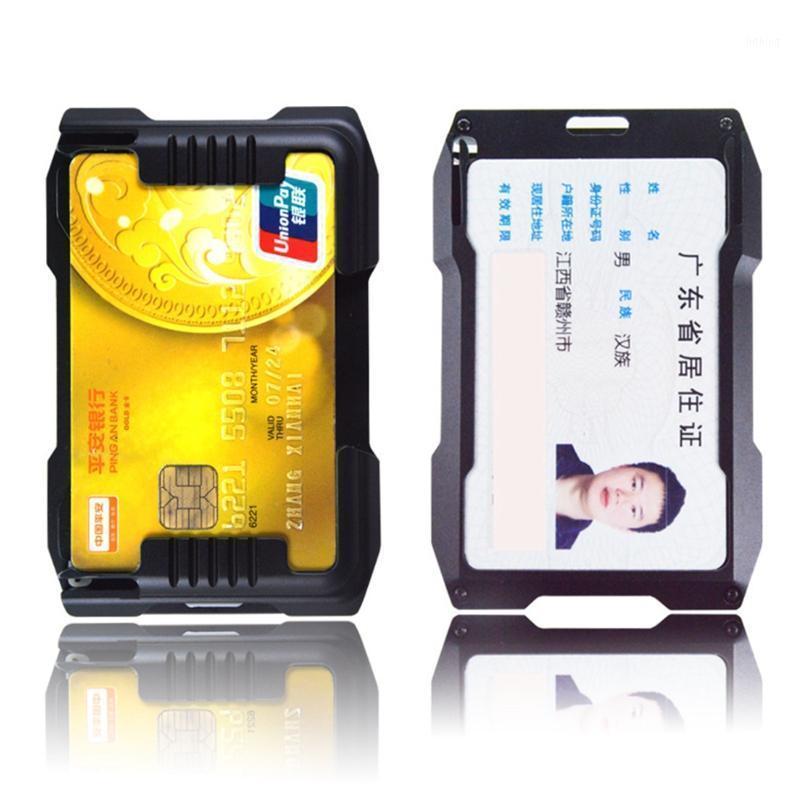 New ID Slim Bank Metal Anti-Roubo Mulheres Negócio Masculino Para Proteção1 Caso de Cartão RFID Alumínio com Carteira Homens Titular RXQRL