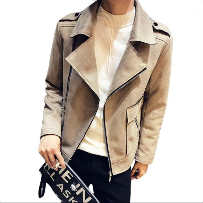 Мужские куртки куртки Весна и осень ночной клуб волос стилист личности локомотивная молния корейский певец тонкий замшевый пиджак1