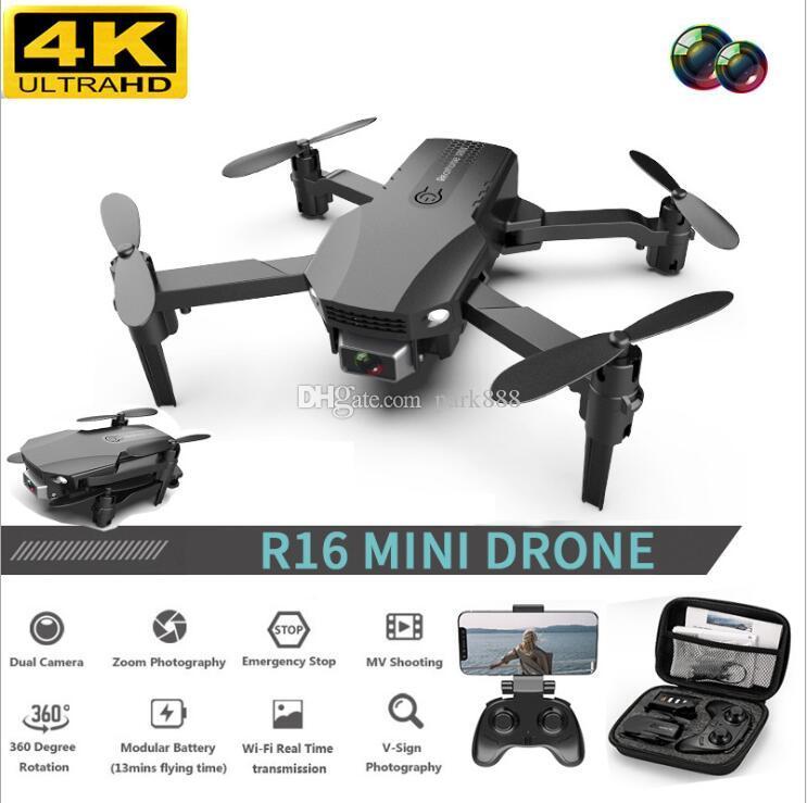 الجديد R16 بدون طيار 4K HD عدسة مزدوجة بدون طيار ميني واي فاي 1080P الوقت الحقيقي ونقل FPV بدون طيار ثنائي الكاميرات طوي RC كوادكوبتر لعبة