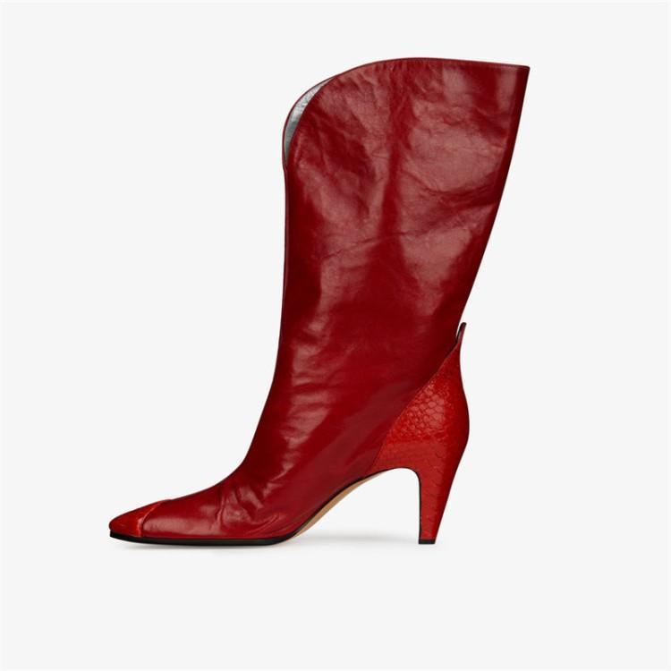 2020 Kış Yeni Kadın Çizmeler Fahion Sivri Burun Seksi Karışık Renk Botas Lady Artı Boyutu 43 Marka Slip-On Kısa Çizmeler Ayakkabı Kadınlar