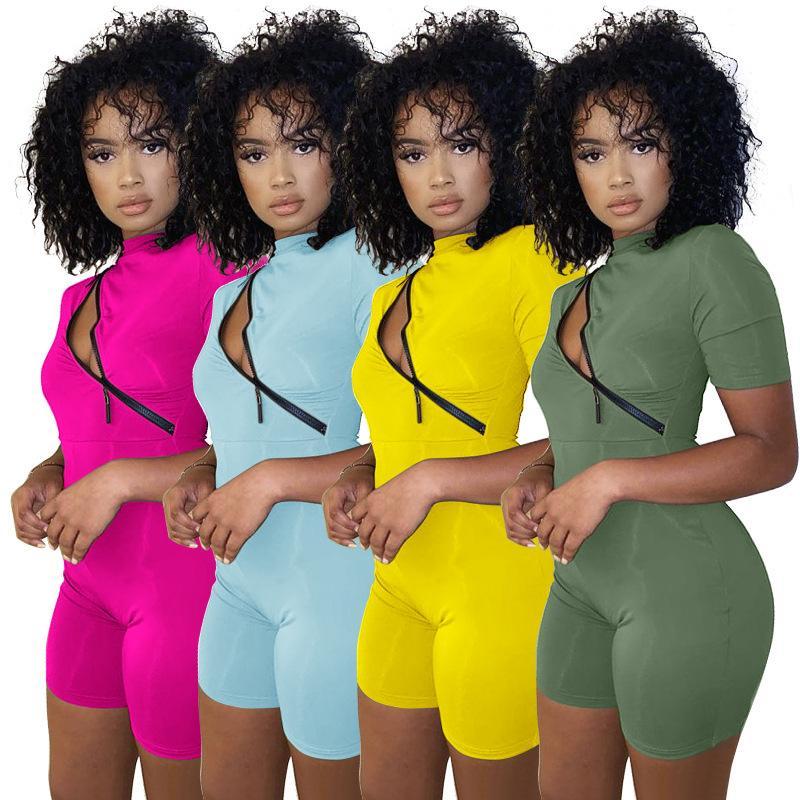 2021 летние новые женские молния сращивание контрастности туго комбинезон сплошной цвет персонализированные сексуальные стройные похудения игре мода повседневная одежда