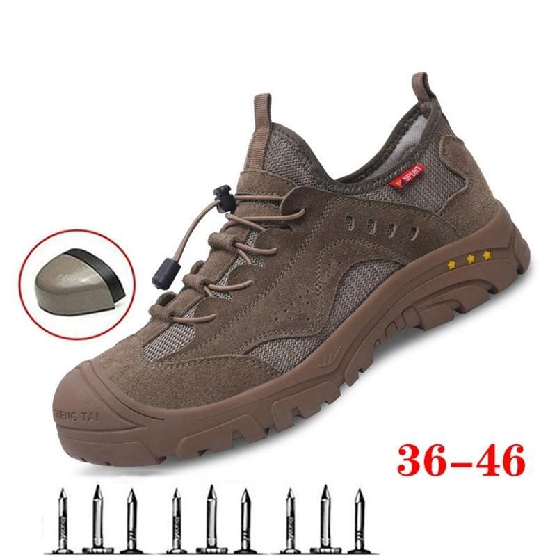 Bottes de travail d'été Sécurité Steel Toe Chaussures Hommes respirant Anti-Smash Construction en acier Bouchon d'orteils Chaussures de travail indestructibles Vente chaude 201222