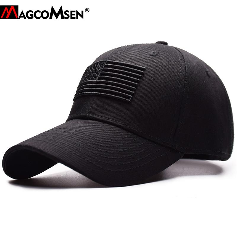 2021MAGCOMSEN Tactical Baseball Cap Men Summer USA Flag Sun Protective Military Snapback Cap Casual Golf Baseball Caps Army Hat Men