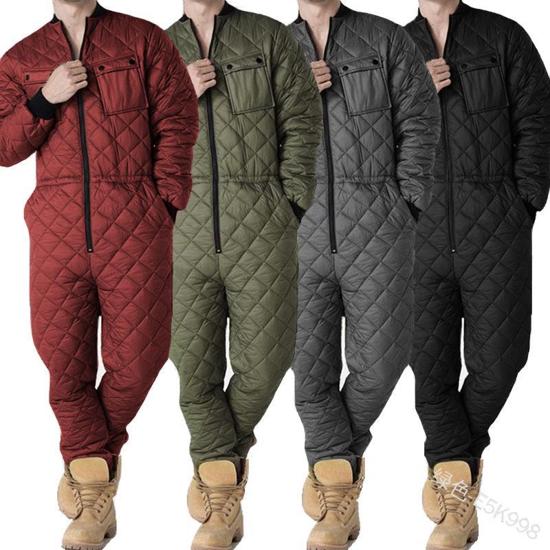 Erkekler için tulum tek parça uzun kollu tulum kış sıcak giysi yeni fermuar playsuits erkekler ev telleri kış tulum tulum