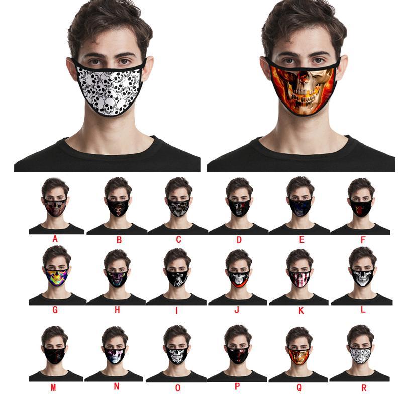 2020 Neue Schädel Druckgedruckte Maske Blumen Mundabdeckung Staubdichte Schutzmasken 3D Digitaldruckmaske Ohne Wiederverwendbar für Kinder Erwachsene