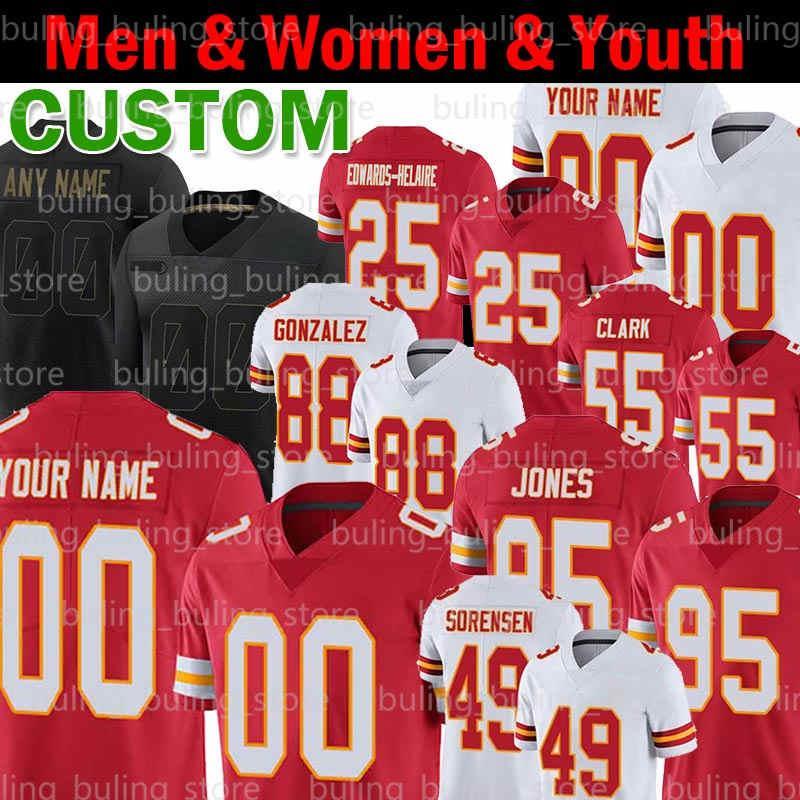 Personalizzato 25 Clyde Edwards-Helaire 49 Daniel Sorensen Jersey 55 Frank Clark 95 Chris Jones Joe Montana Christian Okoye L'Jarius Sneed calcio
