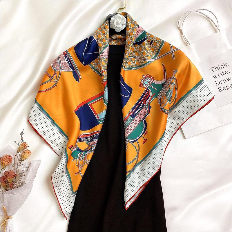 Écharpe en soie carrée Soie de soie féminine Tête de chariot de la soie pour la femme à la main à la main ourlet ourlet ourlet 90 Foulard Luxe