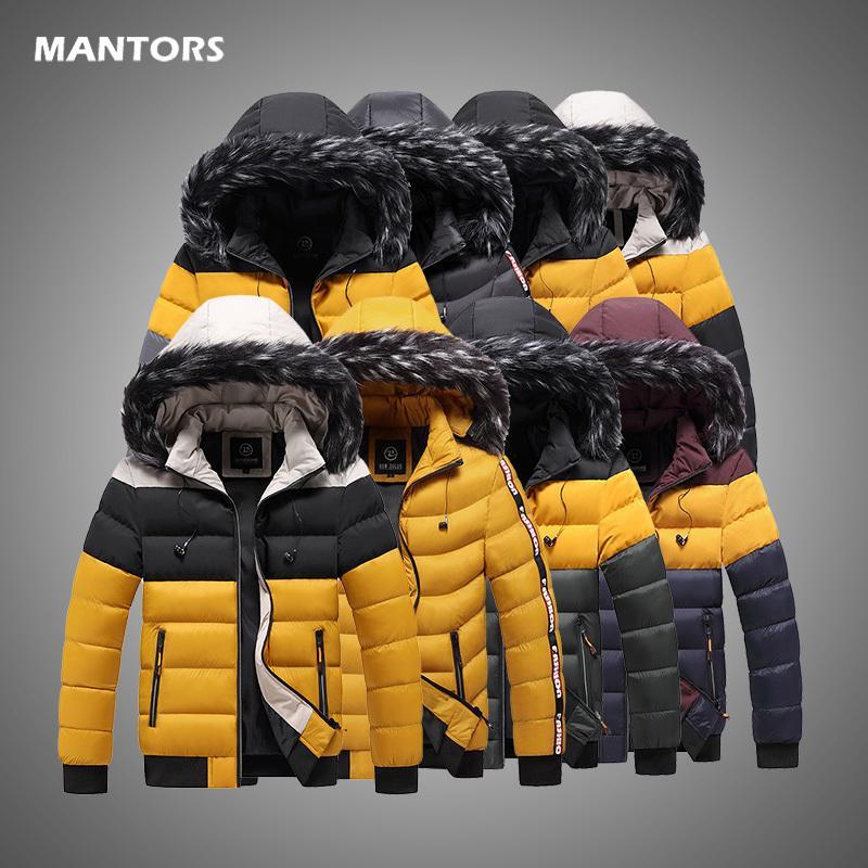 Männer Winterjacke mit Kapuze Pelzkragen Mens Parka Jacken Marke Warme Dicke Winddichte Parkas Männliche Casual Patchwork Jacke 5XL 201126