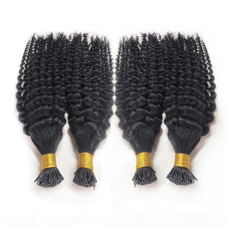 Pre-Banded Stick I Supporta le estensioni dei capelli umani Kinky ricci capelli vergini brasiliani 1G S 100 g Balck Brown Blonde Keratin Capelli estensioni